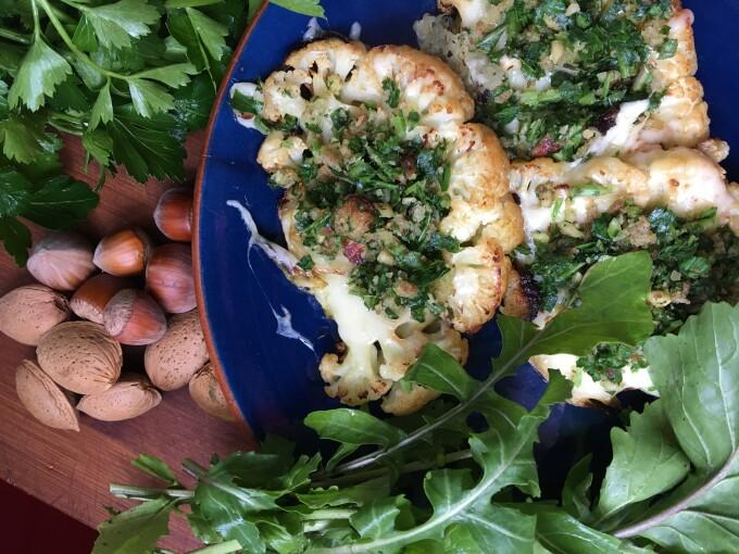 Cauliflower Steaks with Rocket and Hazelnut Picada